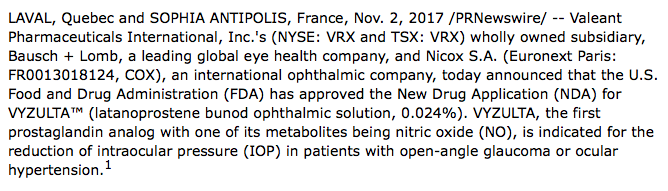 Bausch + Lomb And Nicox Announce FDA Approval Of VYZULTA™ (latanoprostene Bunod Ophthalmic Solution), 0.024%
