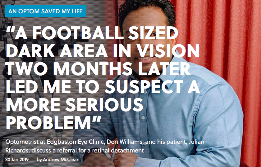 """A FOOTBALL SIZED DARK AREA IN VISION TWO MONTHS LATER LED ME TO SUSPECT A MORE SERIOUS PROBLEM"""